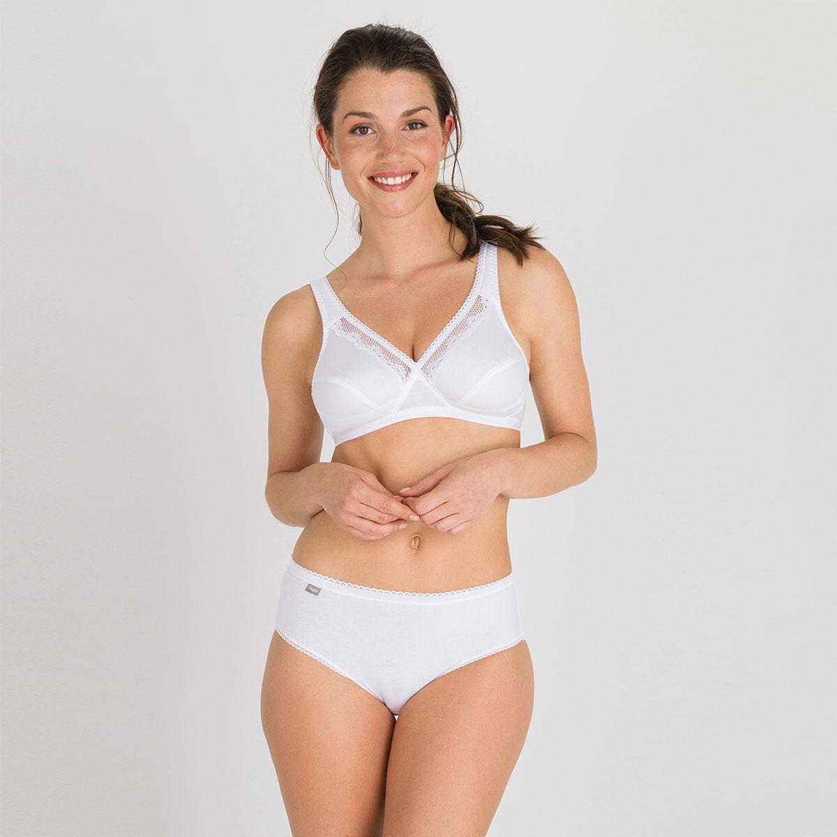 Soutien-gorge sans armatures blanc – Cœur Croisé Coton -PLAYTEX