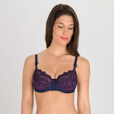 Soutien-gorge balconnet bleu violet - Flower Elegance-PLAYTEX