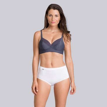 3 culottes Midi blanche, grise et corail - Coton Stretch-PLAYTEX