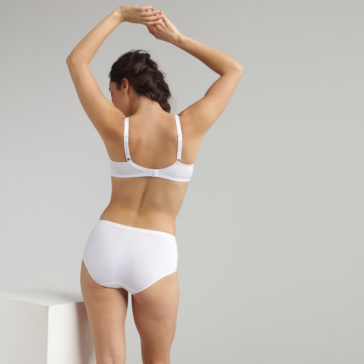 Soutien-gorge sans armatures en coton blanc Cœur Croisé Coton, , PLAYTEX