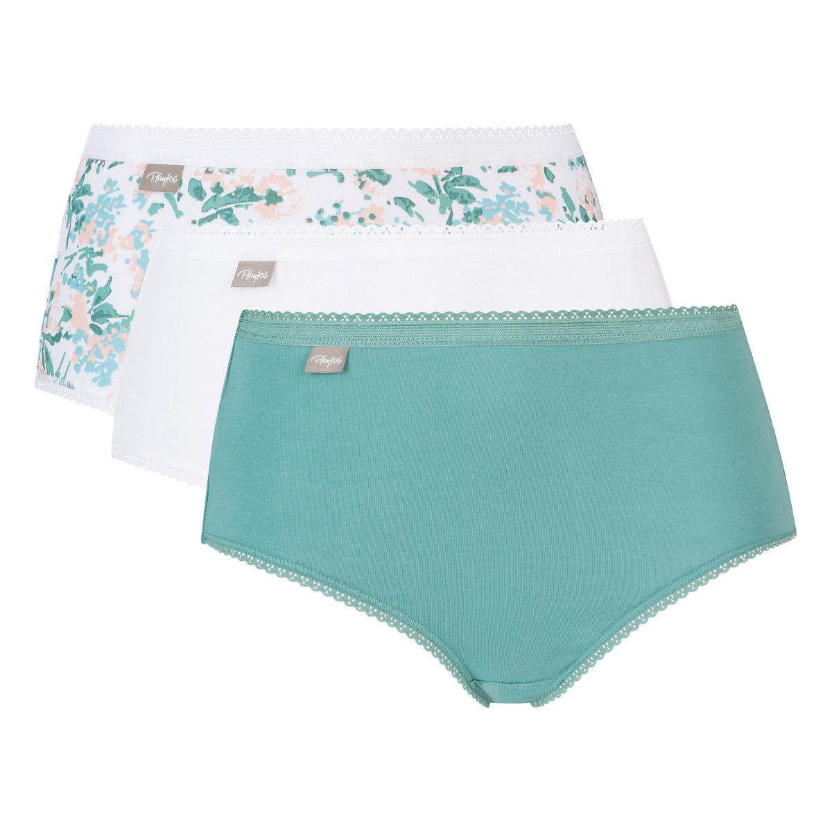 Lot de 3 culottes midi blanche, verte et imprimé fleurs Coton Stretch, , PLAYTEX