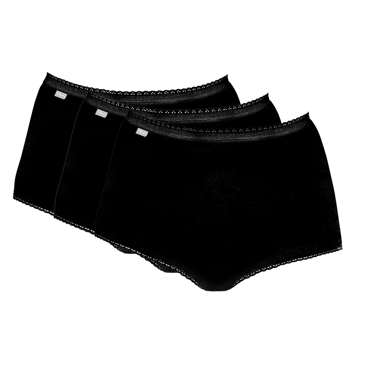3 Culottes Maxi noires  – Coton Stretch-PLAYTEX