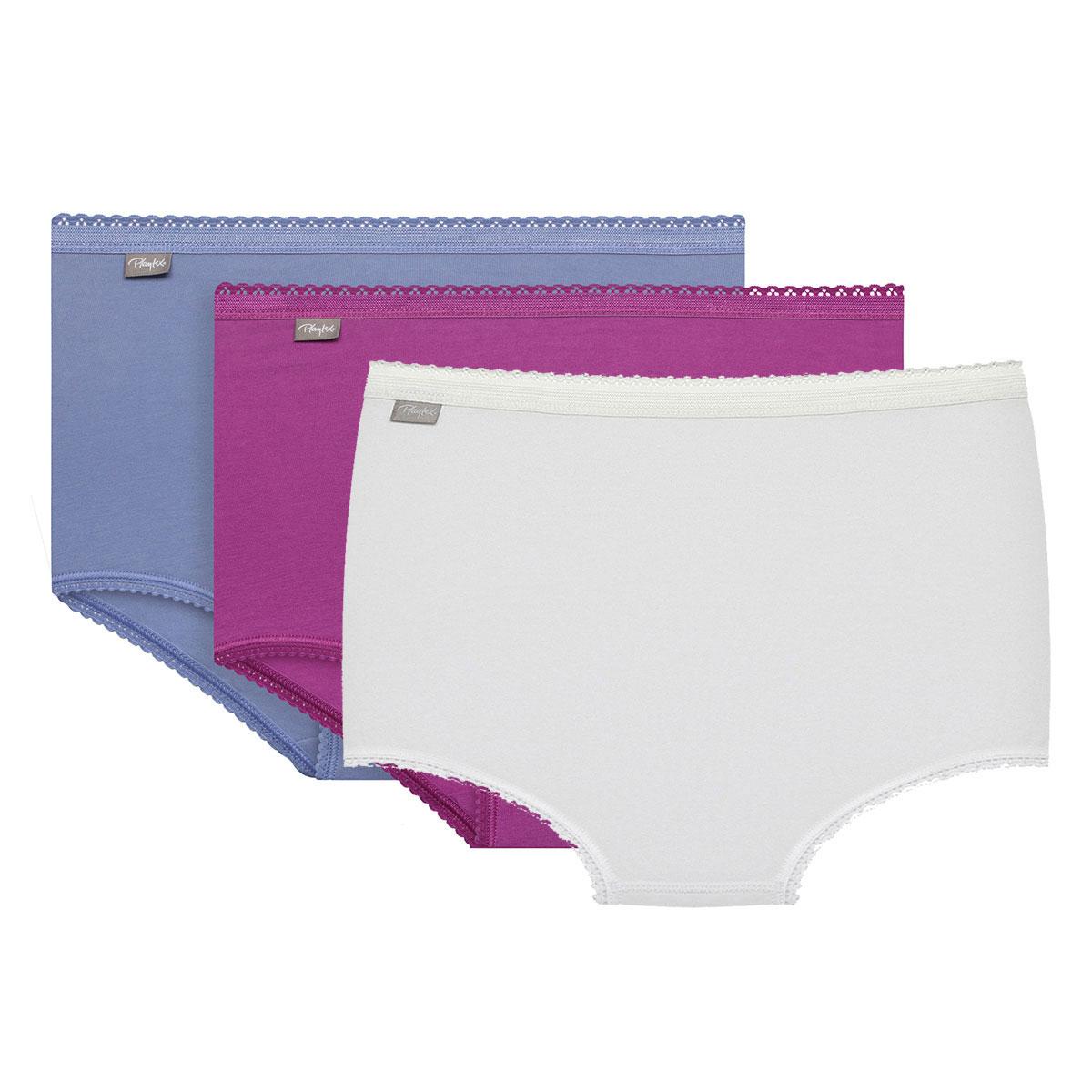 3 culottes Midi violette, parme et blanche - Coton Stretch-PLAYTEX