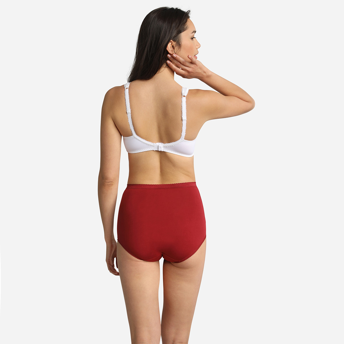 Lot de 3 culottes taille haute beige, rouge et blanche Coton Stretch, , PLAYTEX