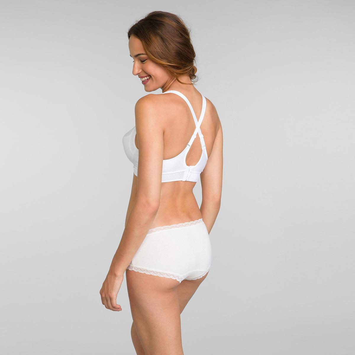 Lot de 2 boxers femme coton beige uni et imprimé cerises Cotton Fancy, , PLAYTEX