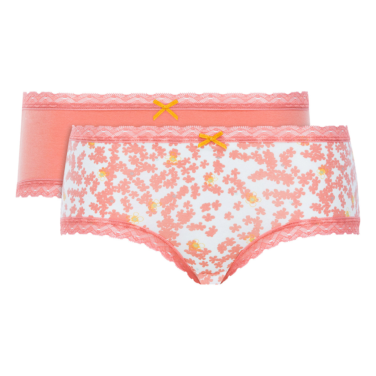Lot de 2 boxers femme coton orange uni et imprimé - Basic Cotton Fancy, , DIM
