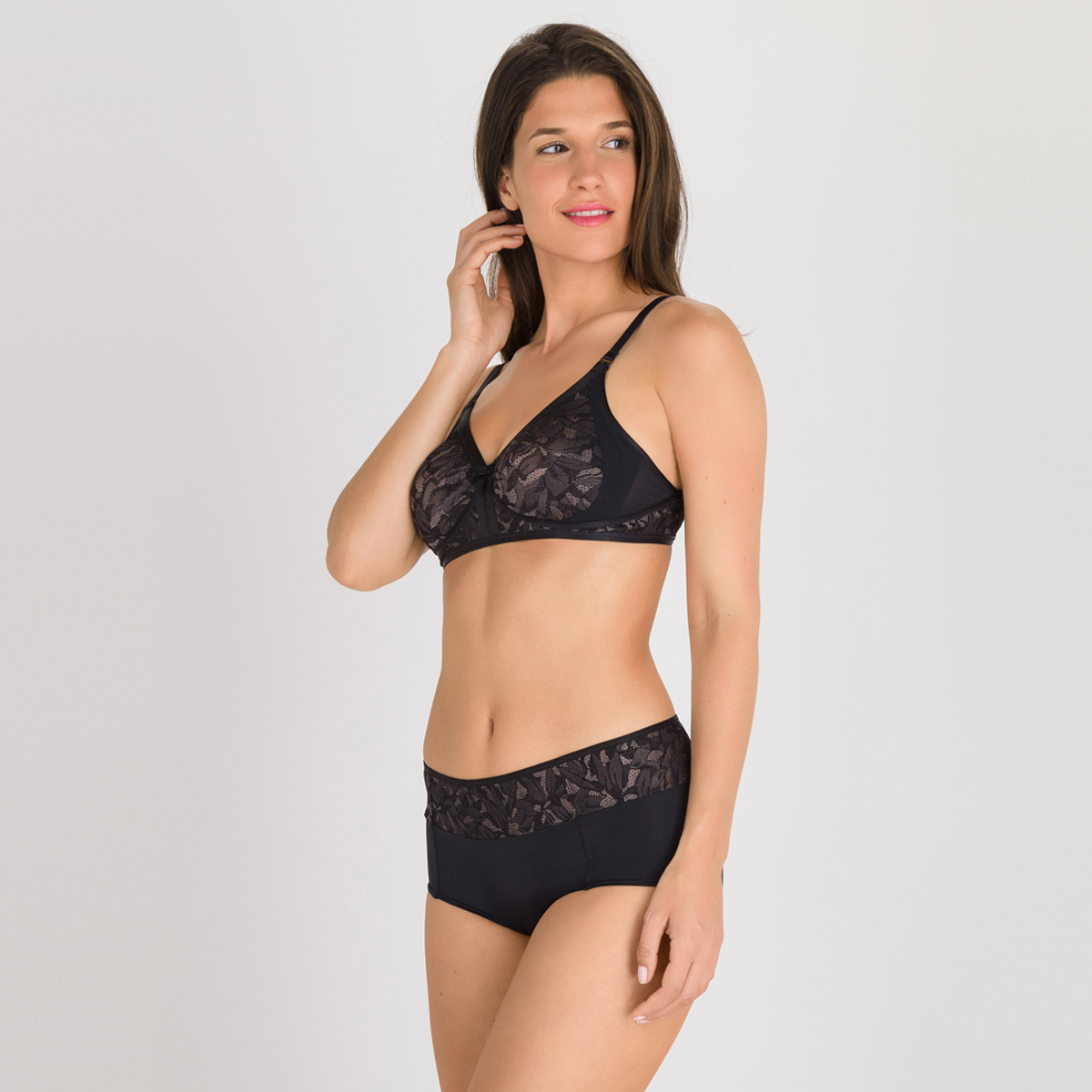 Soutien-gorge sans armatures noir gris - Ideal Beauty Lace, , PLAYTEX
