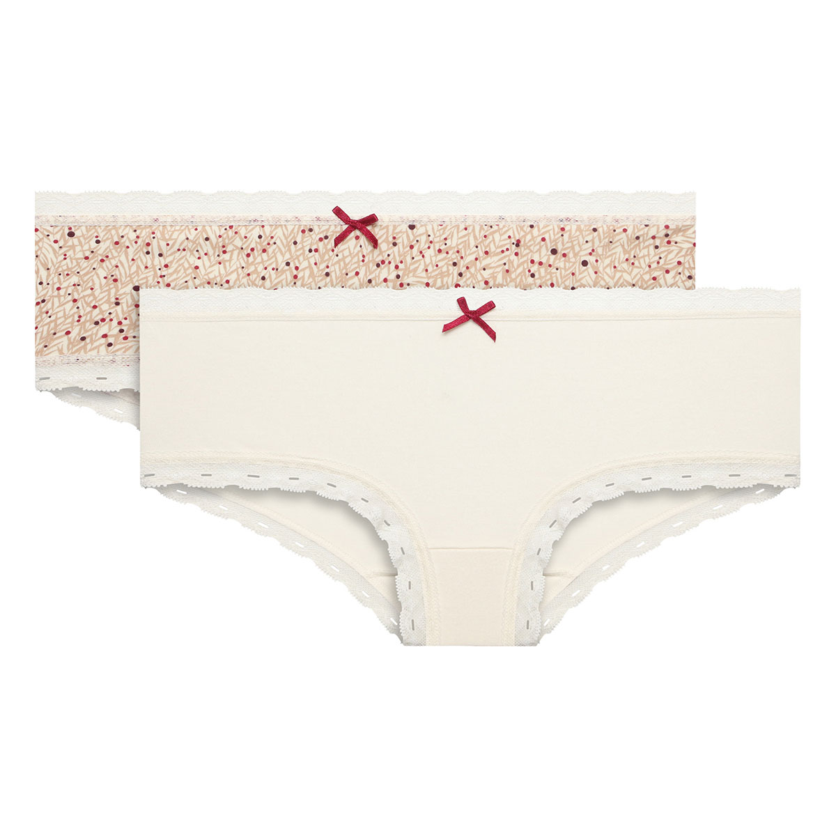 Lot de 2 boxers femme coton beige uni et imprimé cerises Cotton Fancy, , PLAYTEX