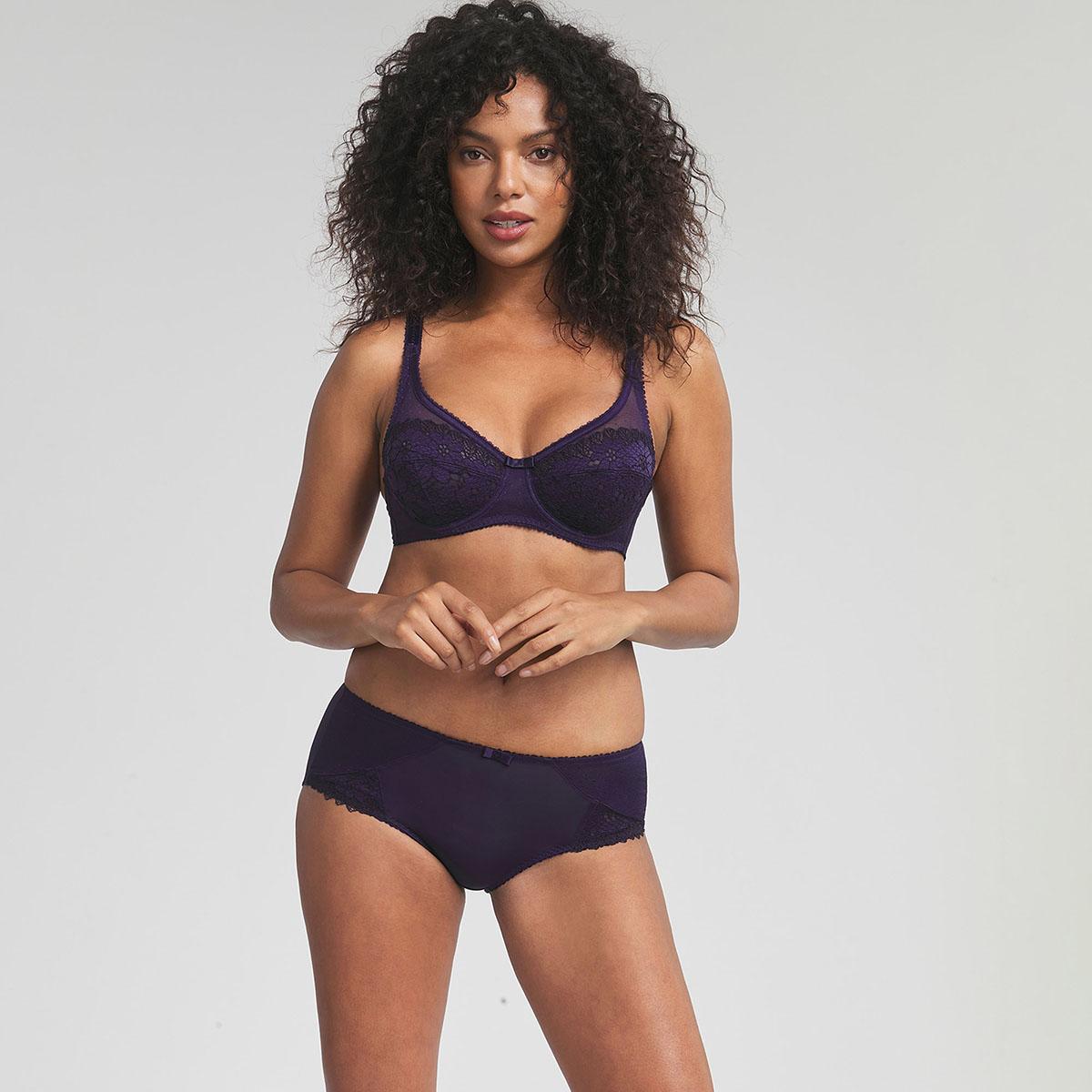 Culotte dentelle bleu marine Cœur Croisé Féminin, , PLAYTEX