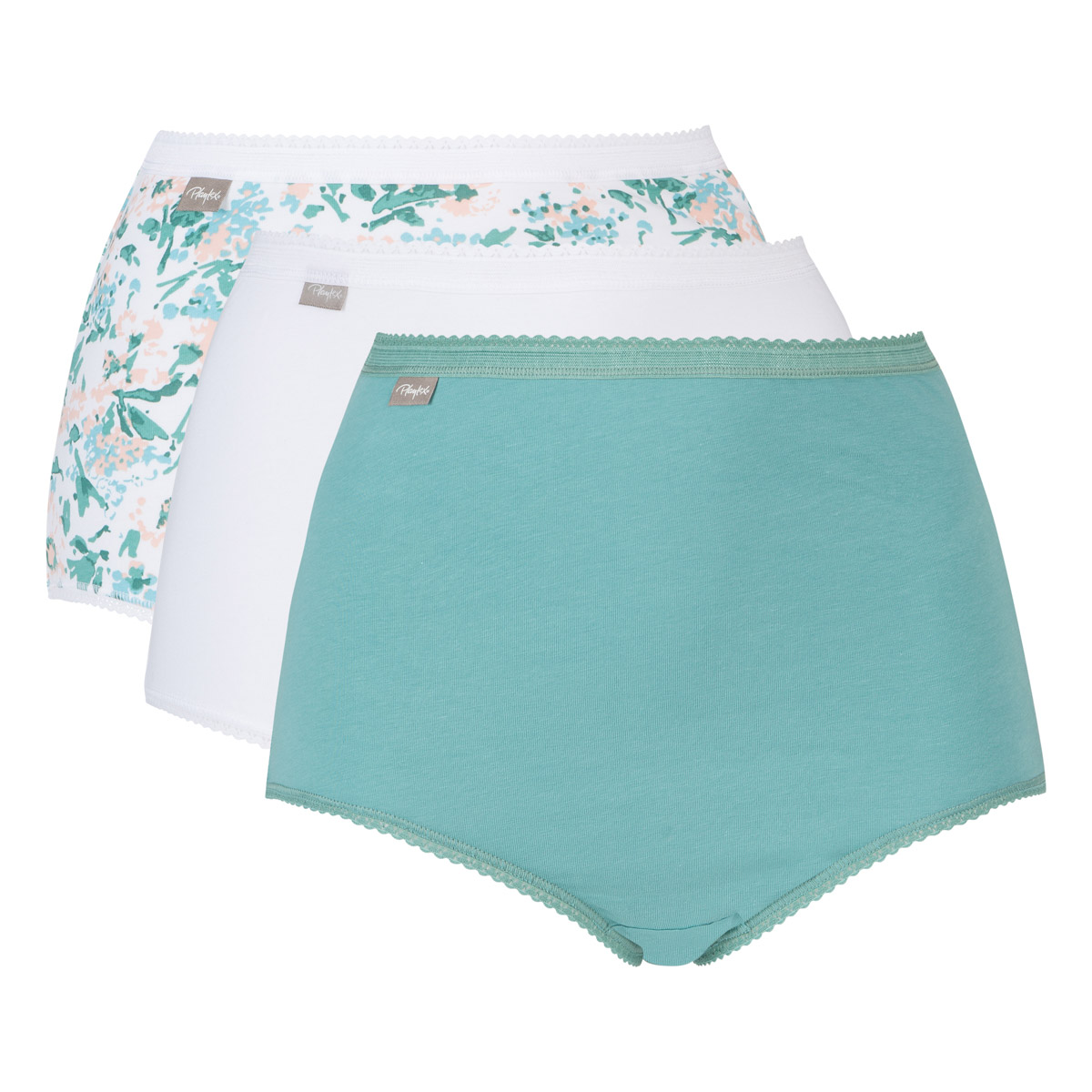 Lot de 3 culottes taille haute verte, blanche et motifs fleurs Coton Stretch, , PLAYTEX