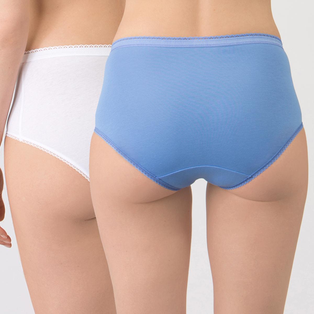 2 Culottes Midi Bleue et Blanche - Coton Stretch-PLAYTEX