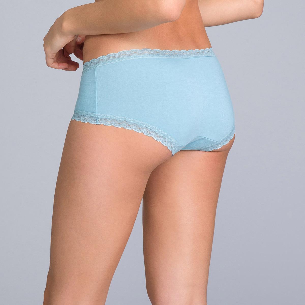 Lot de 2 boxers femme coton bleus uni et imprimé - Basic Cotton Fancy, , PLAYTEX