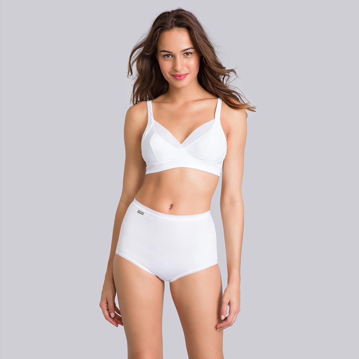 3 culottes Maxi blanche, grise et corail - Coton Stretch-PLAYTEX