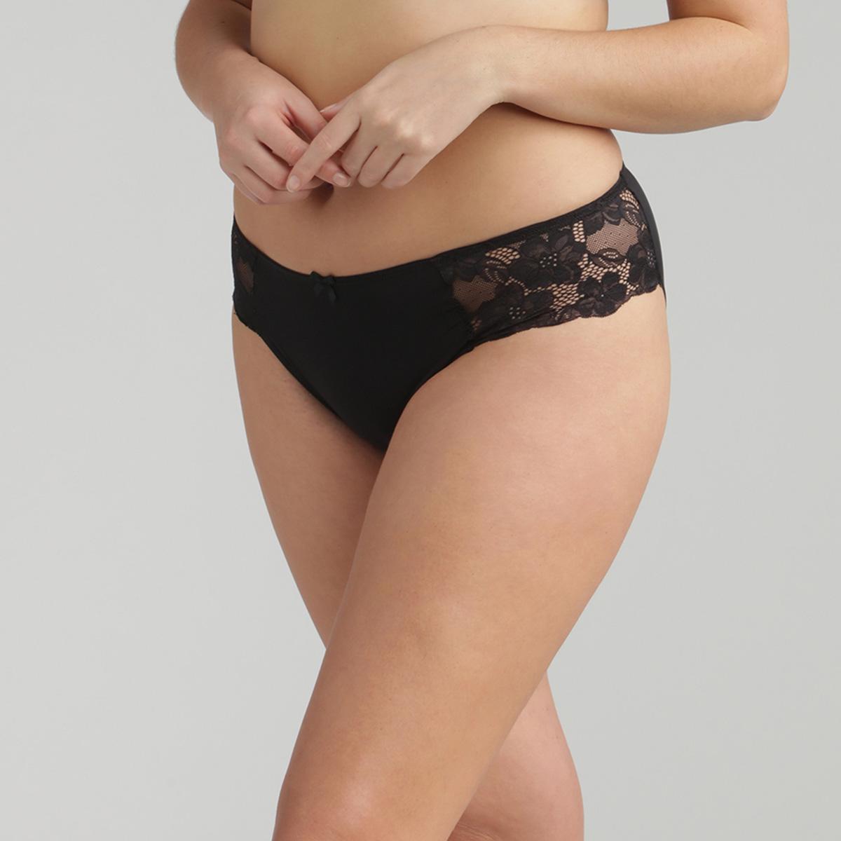 Culotte dentelle mini noire Essential Elegance, , PLAYTEX