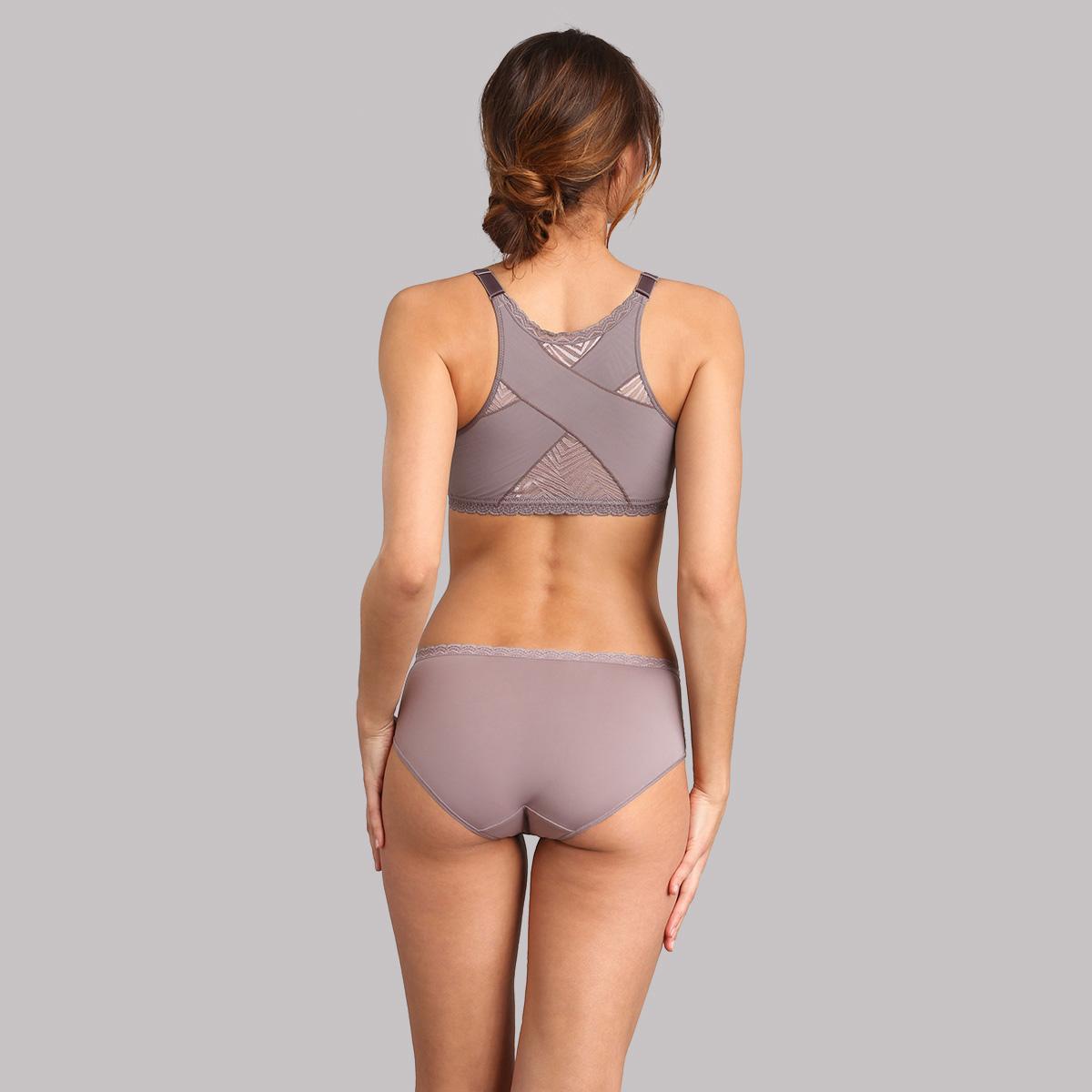 Culotte midi dentelle taupe Ideal Posture, , PLAYTEX