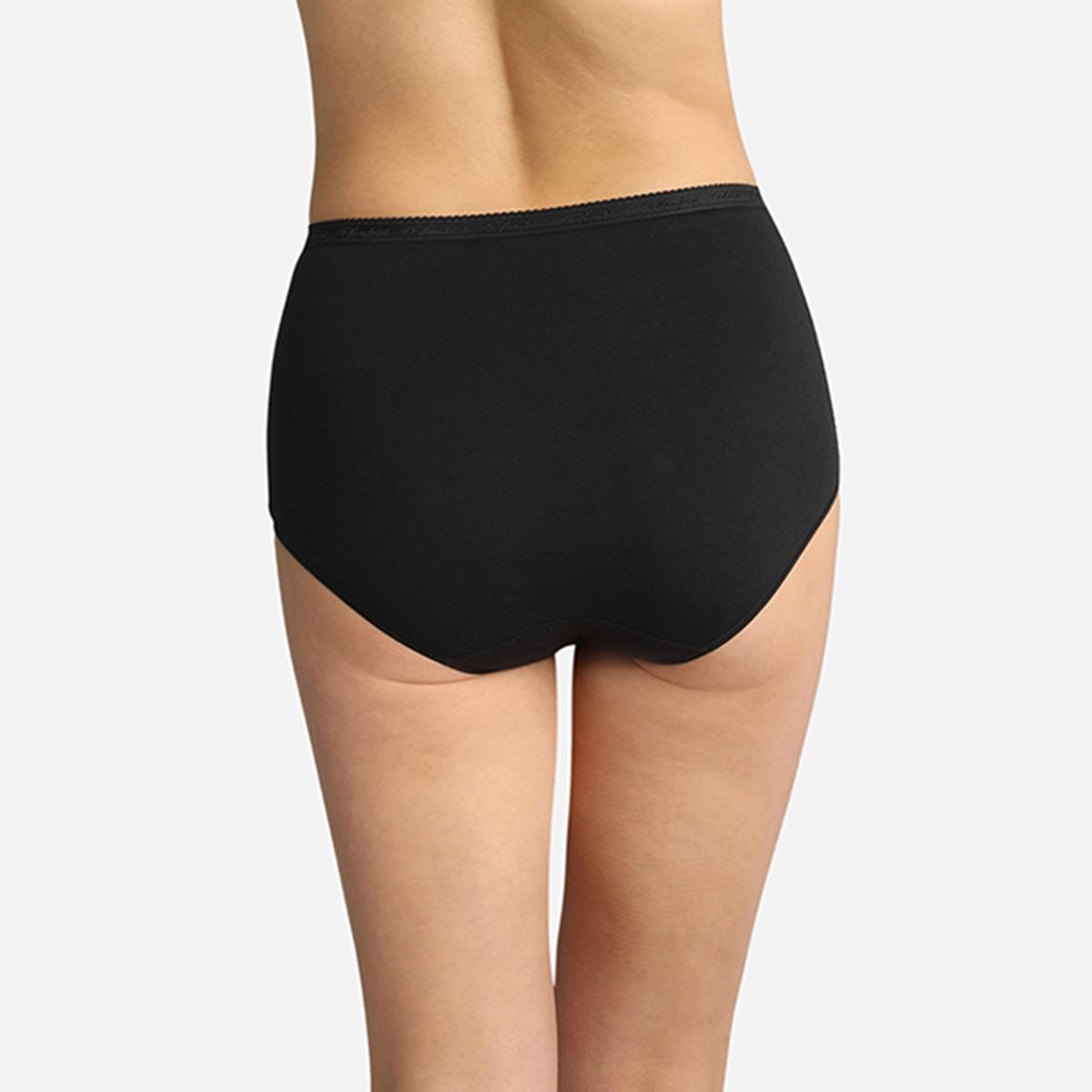 Lot de 3 culottes taille haute noires Coton Bio, , PLAYTEX