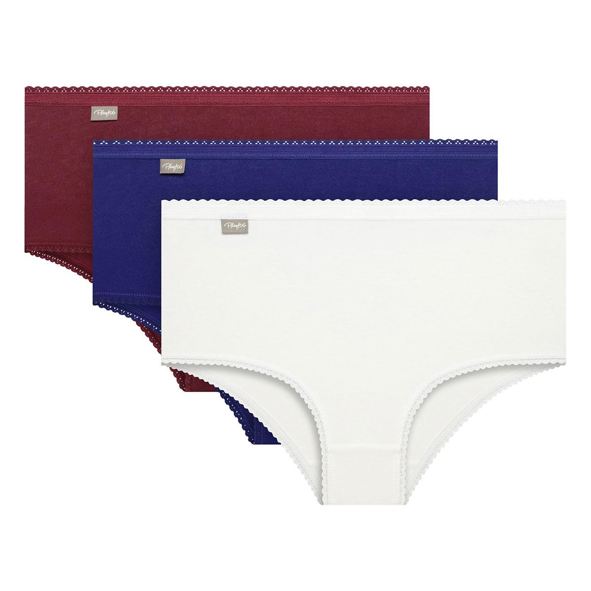 Lot de 3 culottes coton midi rouge blanche et bleu Coton Stretch, , PLAYTEX