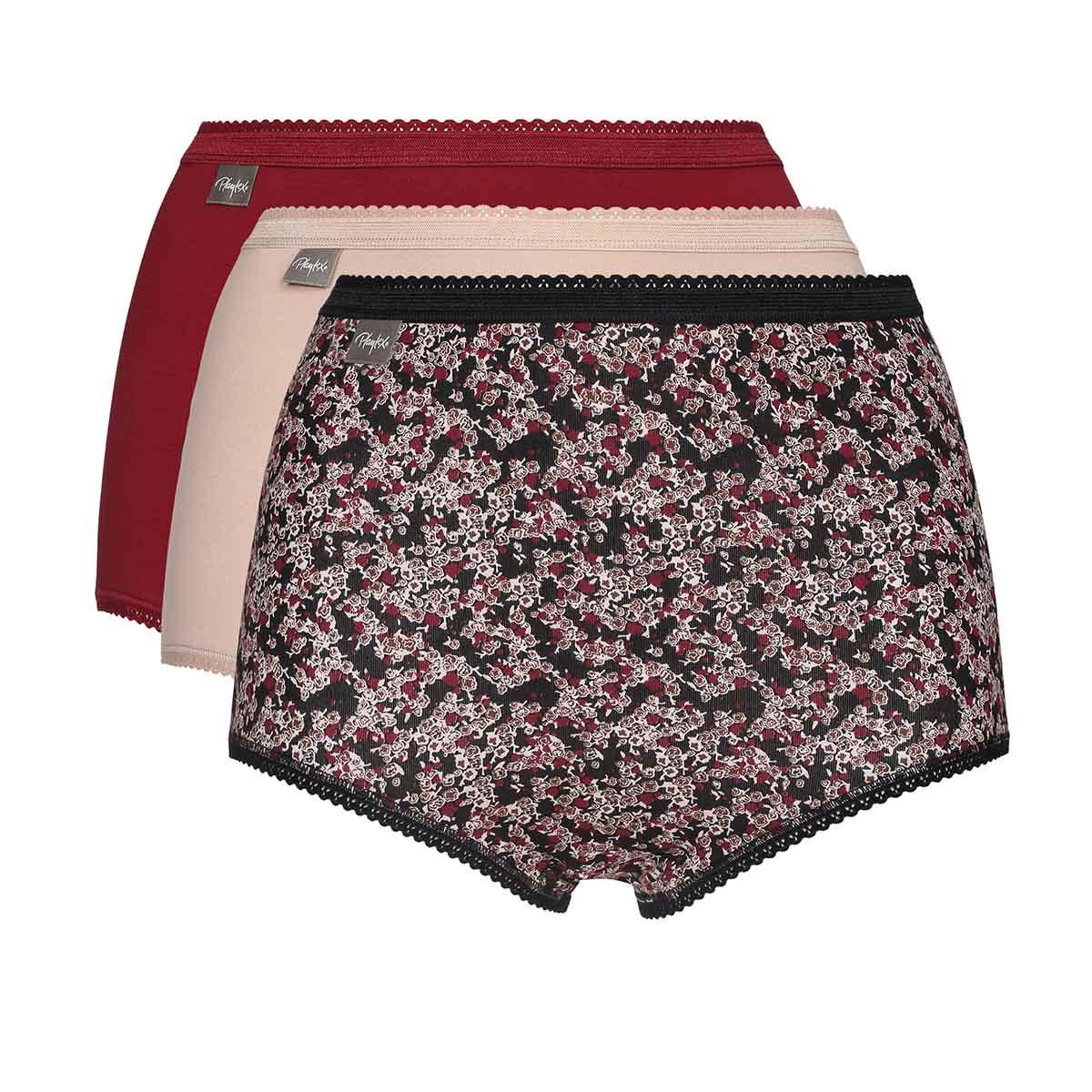 Lot de 3 culottes taille haute rouge foncée, imprimée fleurs et beige Coton Stretch, , PLAYTEX