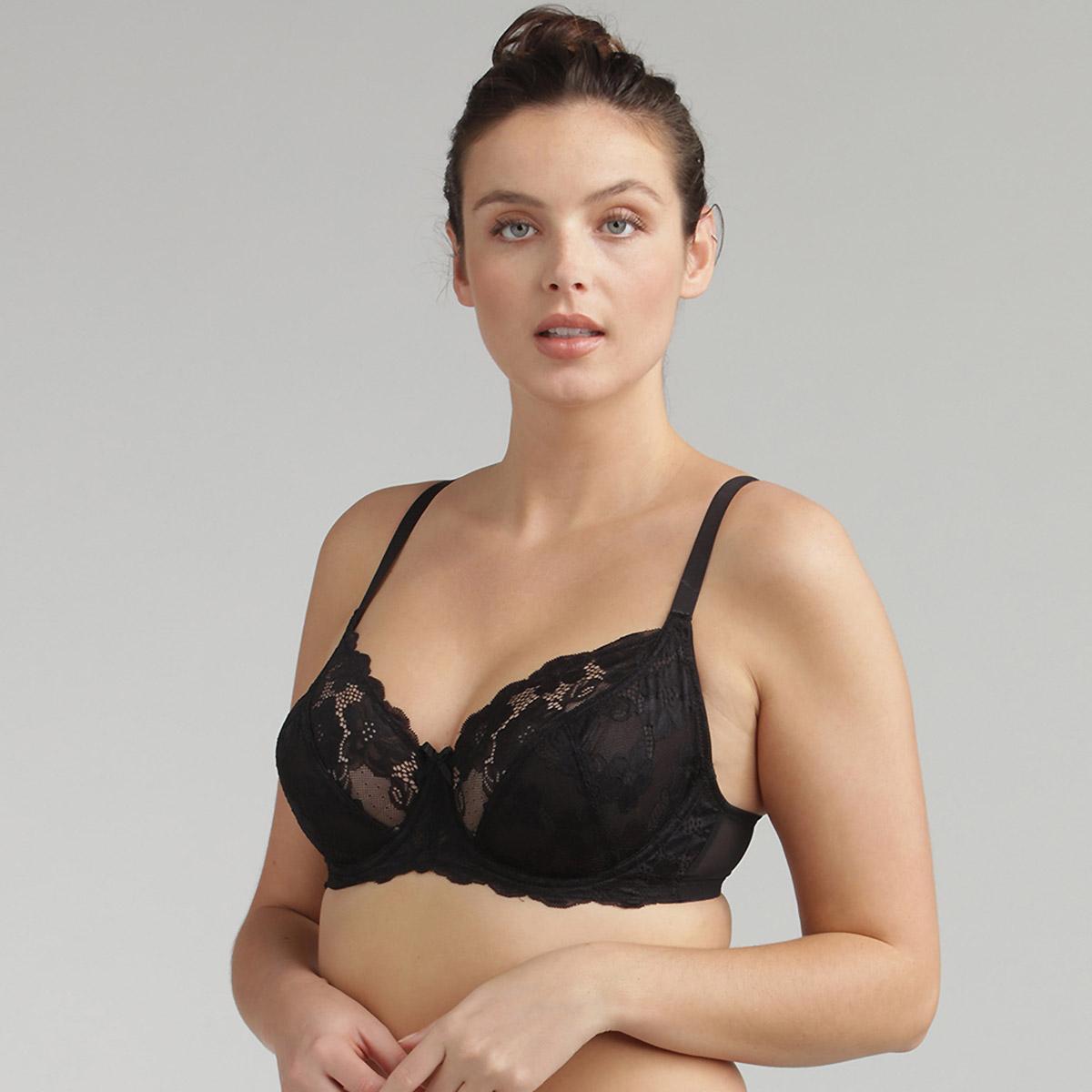 Soutien-gorge dentelle corbeille noir Essential Elegance, , PLAYTEX