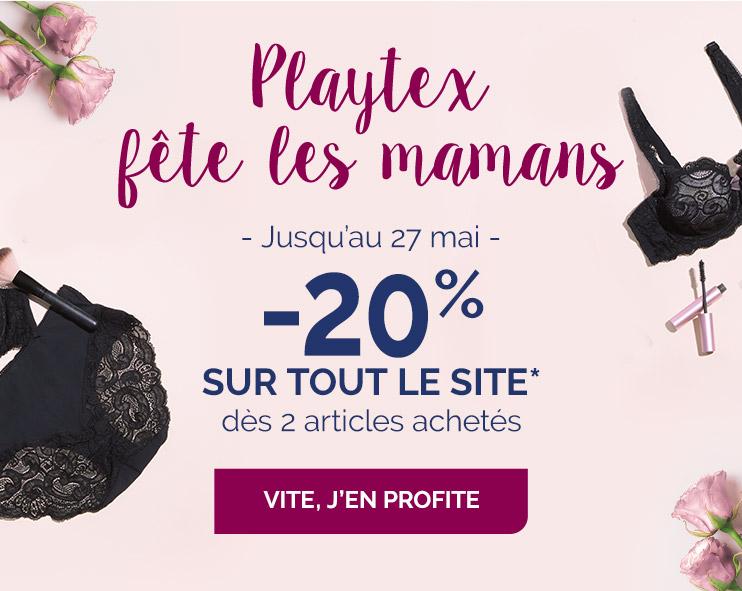 Playtex fête les mamans, jusqu'au 27 mai, -20% sur tout le site* dès 2 articles achetés